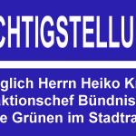 Richtigstellung bezüglich Herrn Heiko Knopf