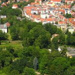 Blick vom Jentower auf das Damenviertel mit dem Planetarium Jena - Foto © MediaPool Jena
