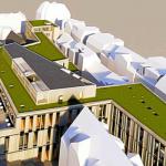 Neubau für Bibliothek und Bürgerservice Jena: (in weiß) unten das Karmelitenkloster, rechts die Häuser der Neugasse, oben links die Häuser am Engelplatz. - Grafikanimation: Büro pbR